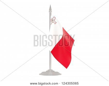 Flag Of Malta With Flagpole. 3D Render
