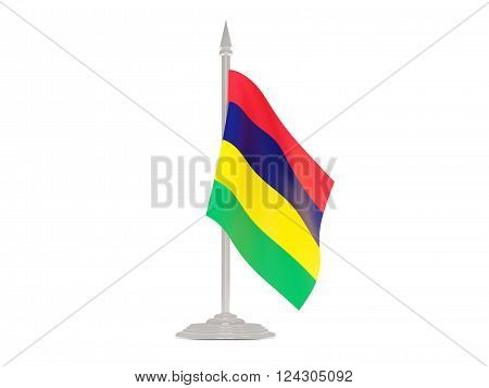 Flag Of Mauritius With Flagpole. 3D Render