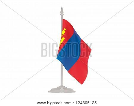 Flag Of Mongolia With Flagpole. 3D Render