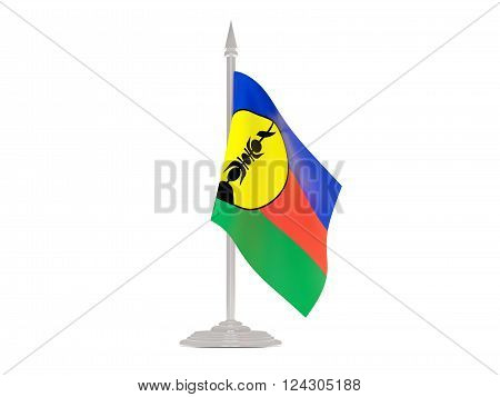 Flag Of New Caledonia With Flagpole. 3D Render