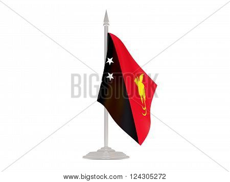 Flag Of Papua New Guinea With Flagpole. 3D Render