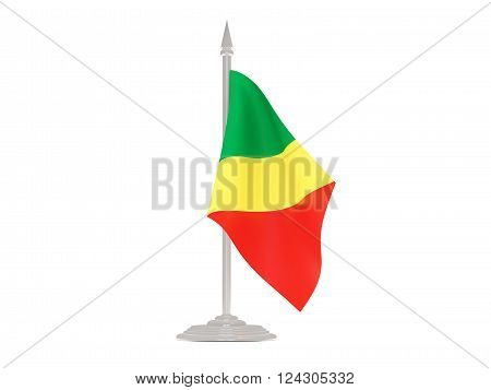 Flag Of Republic Of The Congo With Flagpole. 3D Render