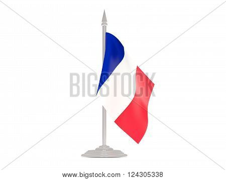 Flag Of Reunion With Flagpole. 3D Render
