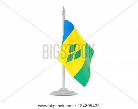 Flag Of Saint Vincent And The Grenadines With Flagpole. 3D Render