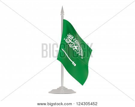 Flag Of Saudi Arabia With Flagpole. 3D Render