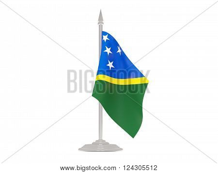 Flag Of Solomon Islands With Flagpole. 3D Render