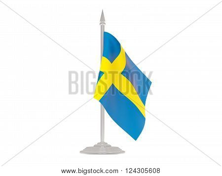 Flag Of Sweden With Flagpole. 3D Render