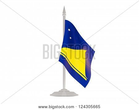 Flag Of Tokelau With Flagpole. 3D Render