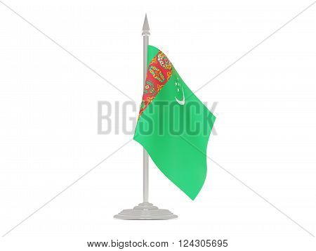 Flag Of Turkmenistan With Flagpole. 3D Render
