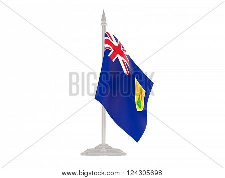 Flag Of Turks And Caicos Islands With Flagpole. 3D Render