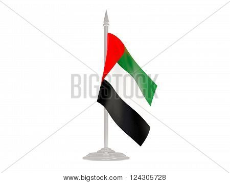 Flag Of United Arab Emirates With Flagpole. 3D Render