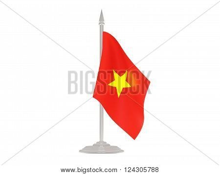 Flag Of Vietnam With Flagpole. 3D Render