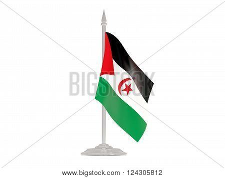 Flag Of Western Sahara With Flagpole. 3D Render