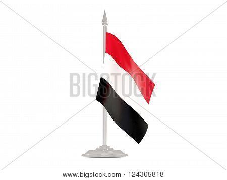 Flag Of Yemen With Flagpole. 3D Render