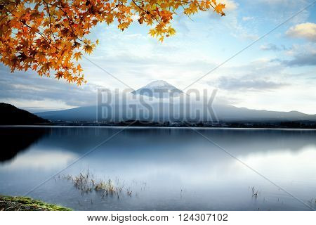 Mt fuji with autumn foliage at lake kawaguchi, Japan