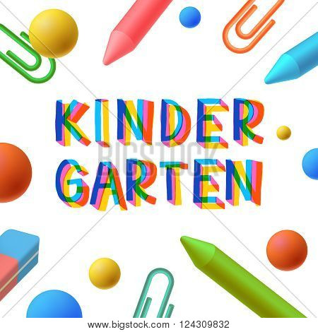 Kindergarten, preschool template, learning and study concept, play and learn, vector illustration.