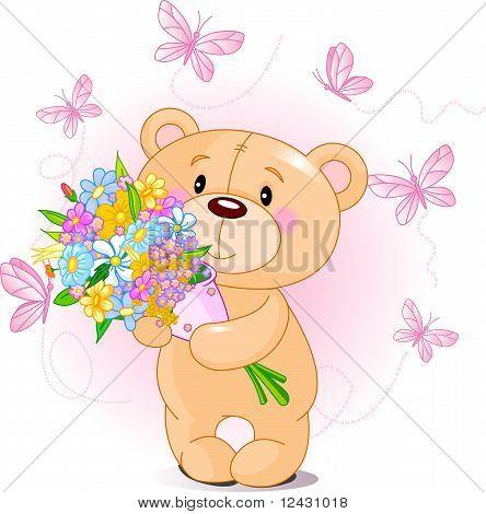 Oso de peluche rosa con flores