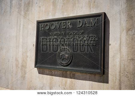 Herbert Hoover Dam tribute to the former president.
