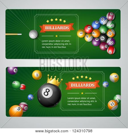 Billiards Baners Set on Grey. Horizontal. Vector illustration