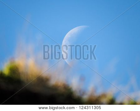 Dreamy moon rising during a clear day