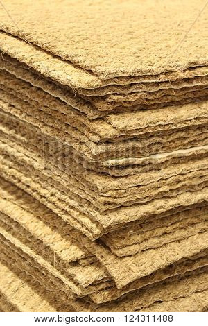 Closed up Stacked of Home Coir Doormat