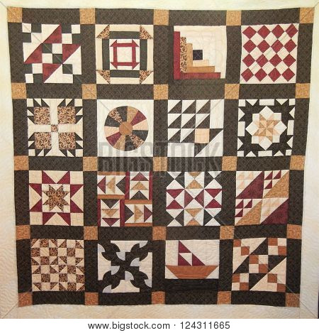 Underground Railroad Quilt. Each panel represents a coded message for slaves fleeing the American south for freedom in Canada. Some gave directions, some meant food was available, danger and so on.