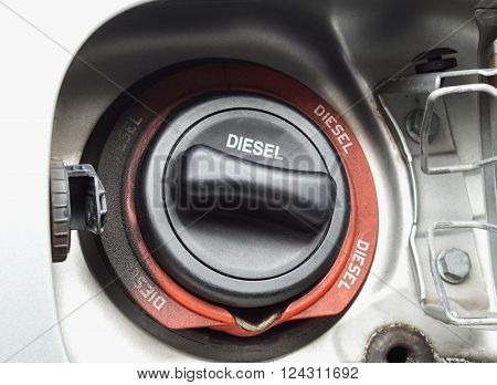 Close up of diesel car fuel filler cap