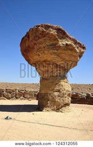 timna national park Sandstone cliffs in natural mushroom sculpture