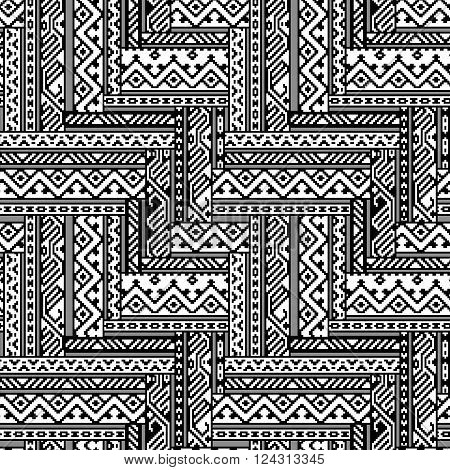 Black and white zig zag ethnic geometric aztec seamless pattern, vector background