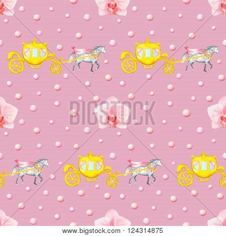 Seamless pattern with watercolor horses, carriages and orchids isolated on pink background