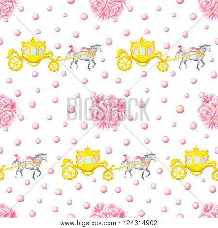 Seamless pattern with watercolor hand drawn horses, carriages and bunches isolated on white background