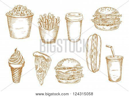 Hamburger and hot dog, pepperoni pizza and cheeseburger, french fries, paper cups of coffee and soda, ice cream cone and popcorn bucket sketches. May be use as old fashioned menu or kitchen interior accessories themes design