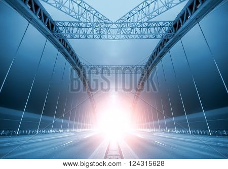 Bridge night, a huge steel beam beneath the lines taillights are produced.