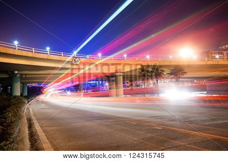 Night highway viaduct below, forming a light automobile taillights, China Nanchang.