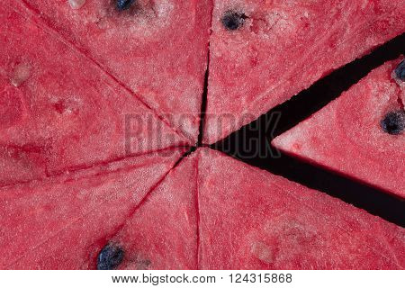 Triangle Shaped Watermelon Slices Closeup.