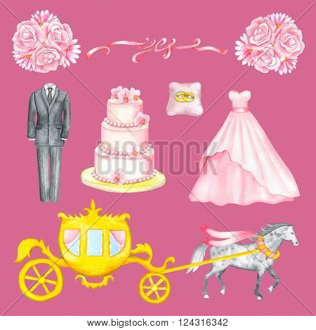 Illustration with watercolor Wedding elements isolated on rose background