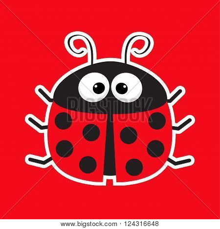 Cute cartoon lady bug sticker icon. Red background. Baby illustration. Flat design. Vector illustration