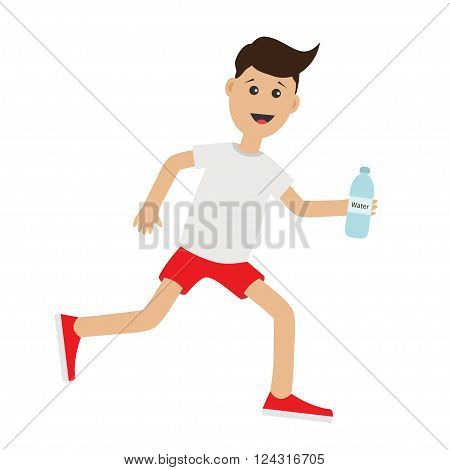 Funny cartoon running guy holding water bottle. Cute run boy Jogging man Runner Fitness workout running male character Isolated White background. Flat design Vector illustration