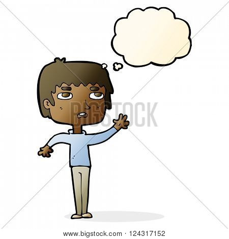 cartoton unhappy boy waving with thought bubble
