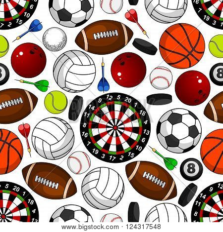 Sport items seamless pattern on white background with soccer and american football, basketball and baseball, volleyball and tennis, bowling and billiards balls, hockey pucks, darts arrows and target boards