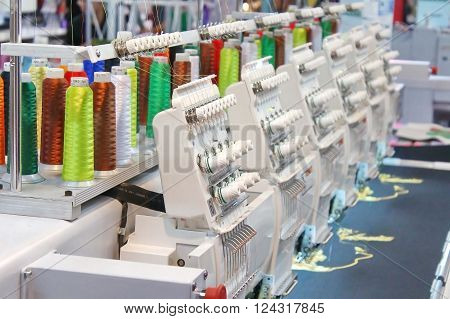 Closed up Embroidering process in the factory