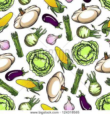 Farm green cabbages and sweet corn cobs, eggplants and spicy garlic, bunches of asparagus and pattypan squashes vegetables seamless pattern over white background. Agriculture harvest, organic farm food theme