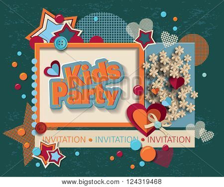framework for invitation or congratulation for happy birthday. scrapbook elements.  Design template for you text.
