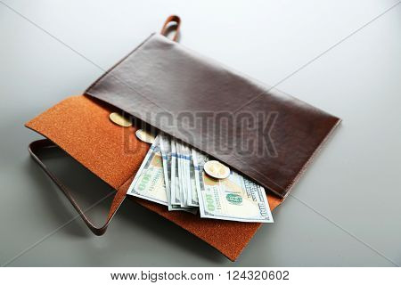 Leather wallet with dollar bills on the grey background