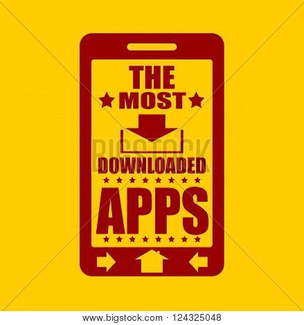 The most downloaded apps text on phone screen. . Abstract touchscreen with lettering.