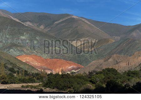 Cerro de siete colores (hill of the seven colors)  in Purmamarca, Quebrada de Humahuaca, World Heritage Site, Jujuy, Argentina