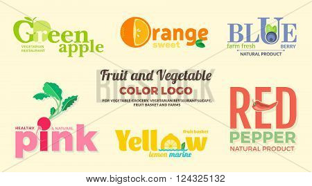Set of colored logos on the theme of fruits and vegetables. For vegetable shops vegetarian restaurants and cafes delivery of fruit and vegetable farms. Vector Illustration