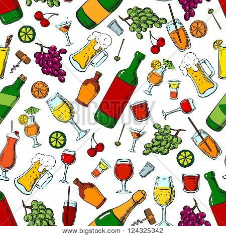Drinks, alcohol and fruit seamless pattern with wine and beer bottles, cocktails and champagne, whiskey, lemonade and milk shakes among grape bunches and cherries, olives and oranges, limes fruits and corkscrews