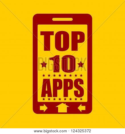 Top ten apps text on phone screen. Abstract touchscreen with lettering.