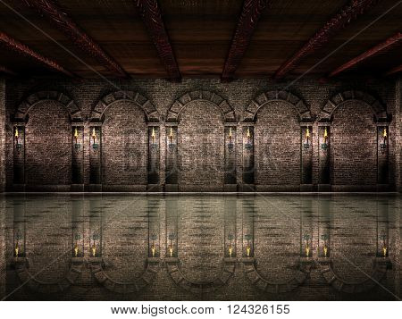 Dark medieval castle hall with columns and torches.3D illustration